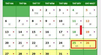 Lịch nghỉ tết dương lịch năm 2020 được nghỉ mấy ngày