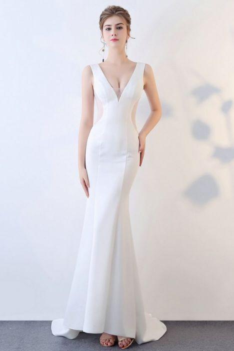 Phong cách thời trang váy đầm dạ hội trắng đẹp - Mẫu 4