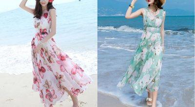 Những kiểu váy đầm maxi đi biển cực đẹp 2020