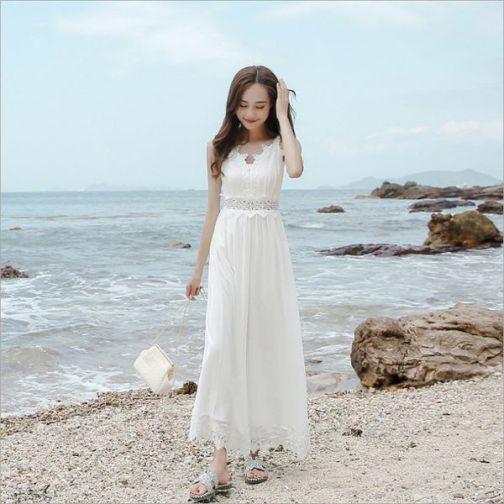 Tổng hợp những mẫu váy đầm maxi trắng đi biển đẹp - Hình 3