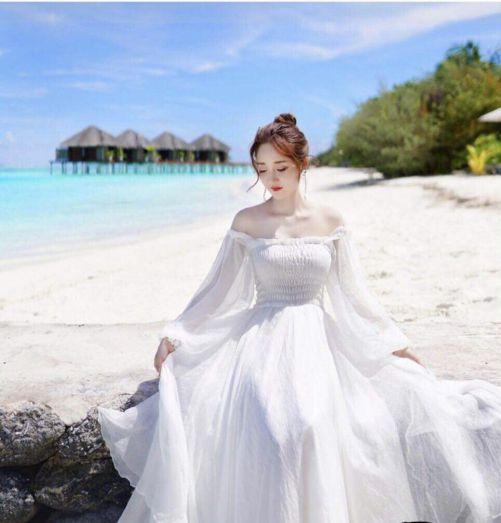 Tuyển chọn các kiểu váy đầm maxi trắng trễ vai đẹp - Hình 2