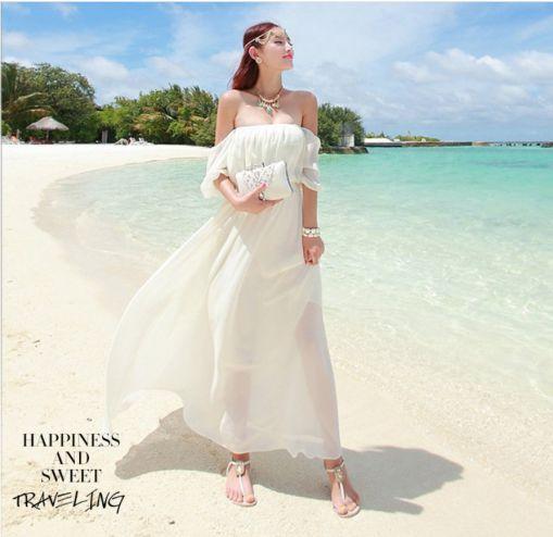 Tuyển chọn các kiểu váy đầm maxi trắng trễ vai đẹp - Hình 3