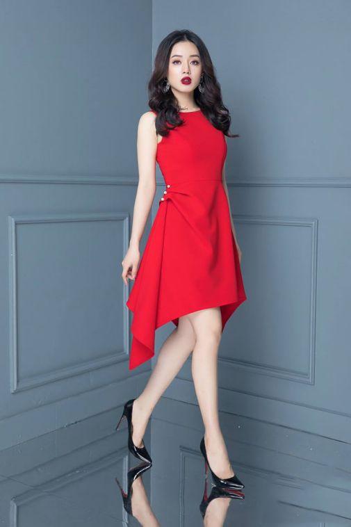 Mẫu váy đầm xòe đuôi cá màu đỏ đẹp nhất - Hình 2