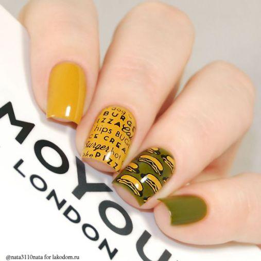 Phong cách Nail màu vàng hình chữ cái