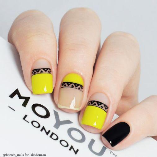 Ý tưởng Nail màu vàng kết hợp màu đen