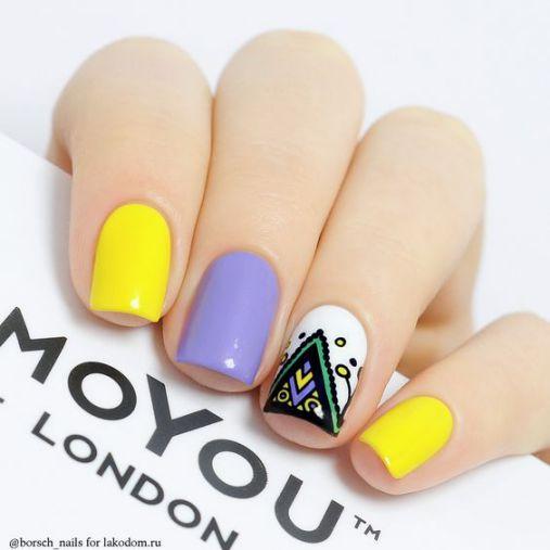 Ý tưởng Nail màu vàng kết hợp màu Pastel