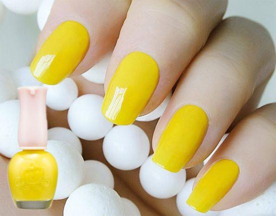 Mẫu Nail màu vàng nghệ đẹp