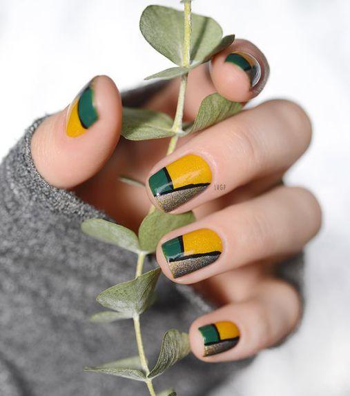 Ý tưởng Nail màu vàng phối 3 màu ấn tượng