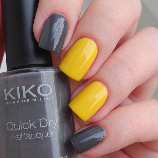 Ý tưởng Nail màu vàng sơn trơn phối 2 màu