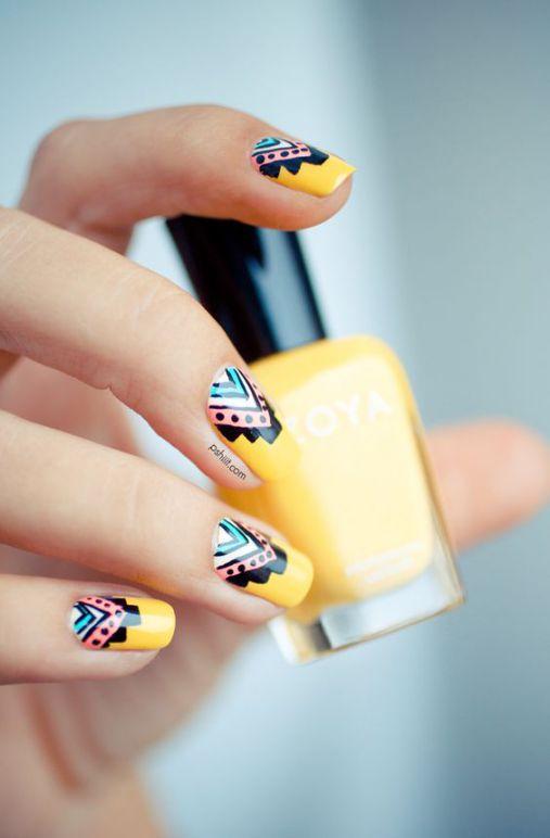 Ý tưởng Nail màu vàng vô cùng dễ thương