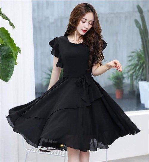 Những mẫu váy đầm voan màu đen đẹp