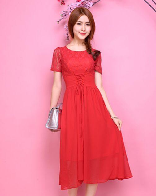Những mẫu váy đầm voan màu đỏ đẹp