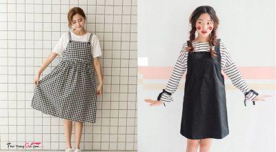 Những chiếc váy đầm yếm đẹp kiểu dáng Hàn Quốc