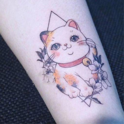 Hình xăm nghệ thuật tatoo mini mèo thần tài đẹp nhất
