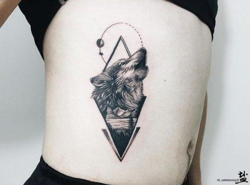 Hình xăm nghệ thuật tatoo mini con sói đẹp nhất