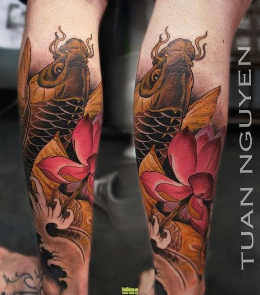 Hình ảnh xăm tattoo cá chép màu vàng đẹp và ý nghĩa nhất