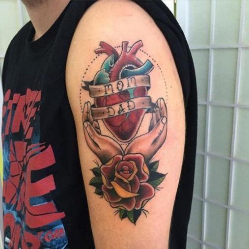 Hình ảnh xăm tattoo cha mẹ phong cách old school