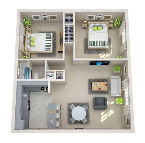 Nhà cấp 4 có 2 phòng ngủ tiện nghi kiểu dáng hiện đại