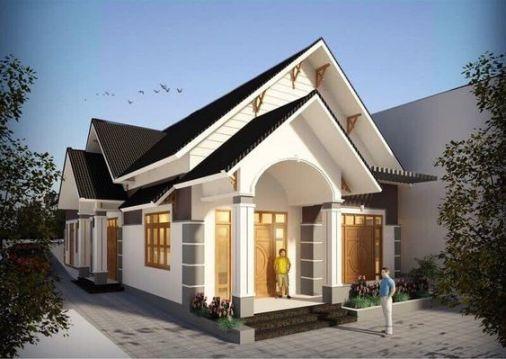 Nhà cấp 4 kiểu dáng hiện đại kết hợp ấn tượng cùng phần mái thái làm điểm nhấn.