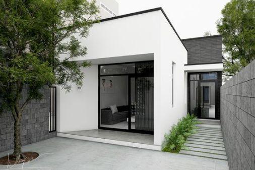 Hình ảnh nhà cấp 4 đẹp hiện đại tạo điểm nhấn bằng tông màu trắng xăm