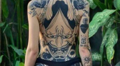 Hình xăm nhật cổ kín lưng đẹp cho nữ đang thịnh hành hiện nay